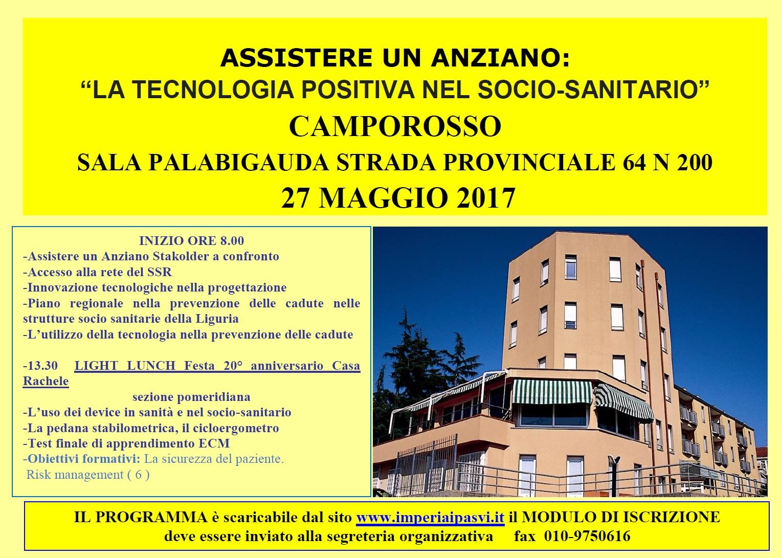 """Corso di aggiornamento ECM – ASSISTERE UN ANZIANO: """"LA TECNOLOGIA POSITIVA NEL SOCIO SANITARIO"""""""