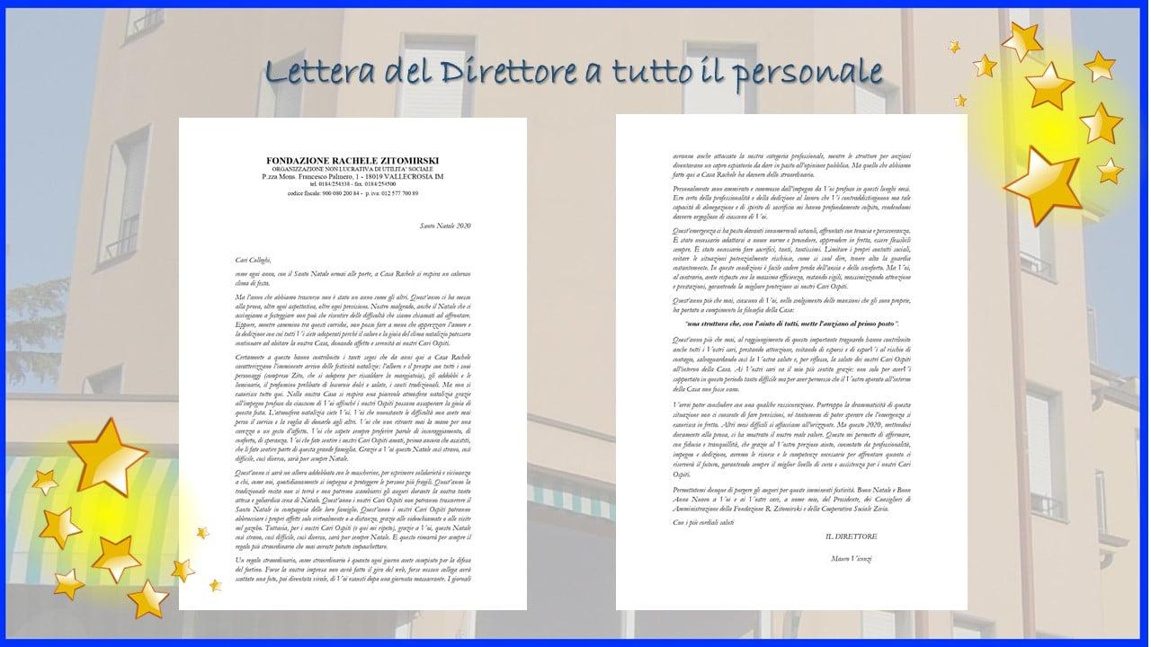 Lettera del Direttore al personale di Casa Rachele per il Natale 2020